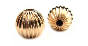 Gold Filled Beads - 8mm Round Corrugated Fluted Bead x1