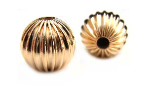 Gold Filled Beads - 9mm Round Corrugated Fluted Bead x1