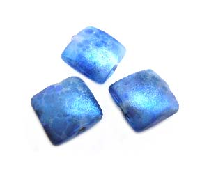 Shimmer Blue Glow Puffy Square Cushion 16x16x8mm - Ian Williams Handmade Artisan Glass Lampwork Beads - By the Bead