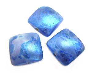 Shimmer Blue Glow Puffy Square Cushion 20x20x11mm - Ian Williams Handmade Artisan Glass Lampwork Beads - By the Bead
