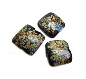 Raku on Black Puffy Square Cushion 16x16x8mm - Ian Williams Handmade Artisan Glass Lampwork Beads - By the Bead