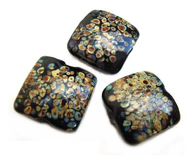 Raku on Black Puffy Square Cushion 20x20x11mm - Ian Williams Handmade Artisan Glass Lampwork Beads - By the Bead