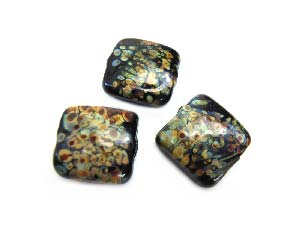 Raku on Black Puffy Square Cushion 12.7x12.5x6.4mm - Ian Williams Handmade Artisan Glass Lampwork Beads - By the Bead