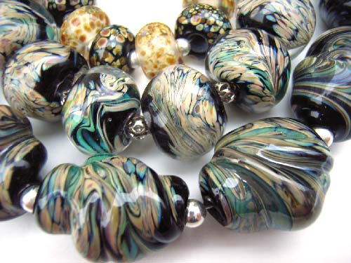 Raku Aurae Swirl Nuggets - Huge set (34 beads) inc Focal Pendant - Ian Williams Artisan Glass Lampwork Beads
