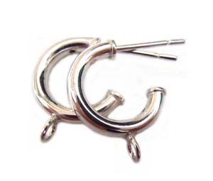 Sterling Silver Earring Findings - 12mm Ear Hoops x1pr