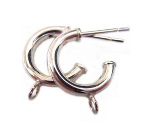 Sterling Silver Earring Findings - 12mm Ear Hoops x1pr