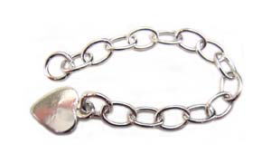 Sterling Silver Extension Chain - Extender with Flat Heart Charm x1