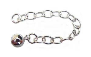 Sterling Silver Extension Chain - Extender with 5mm Bead Charm x1