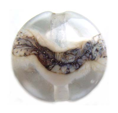 Silvered Ivory Wavy line on Clear 22x9mm Button - Ian Williams - Artisan Glass Lampwork Beads - x1