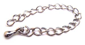 Silver Tone 50mm Necklace Extender - Extension Chains with drop x10