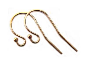 14kt Gold Filled 21g 20x10.5mm 1.5mm Ball End Earring Hooks Round Wire x1pr