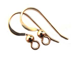 Gold Filled 22g Earring Hooks Flattened Wire with Bead x1pr