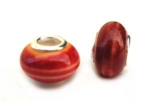 Sterling Silver Core Bead 14x9mm - 4.5mm Hole Red Orange Swirl Glass Rondelle x1