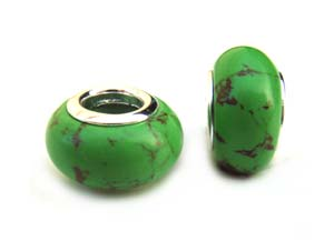 Sterling Silver Core Bead 12x7mm - 4.5mm Hole Green Turquoise Glass Rondelle x1