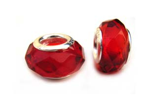 Sterling Silver Core Bead 12x7mm - 4.5mm Hole Red Faceted Glass Rondelle x1