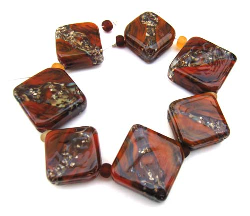 Rustic Tiles Set of 7 Artisan Glass Lampwork Beads - Ian Williams