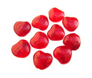 Czech Glass Puffy Crackle Heart Beads 8mm Ruby x25