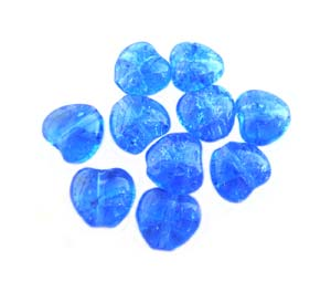 Czech Glass Puffy Crackle Heart Beads 8mm Sapphire x25