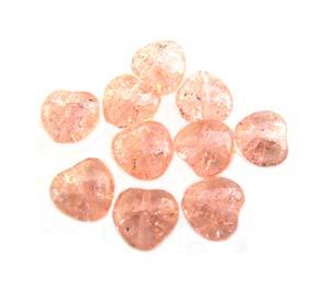 Czech Glass Puffy Crackle Heart Beads 8mm Rosaline x25