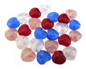 Czech Glass Puffy Crackle Heart Beads 8mm Mixed x24