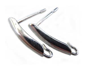 Sterling Silver 13.6x3mm Shield Earring posts x1 pr