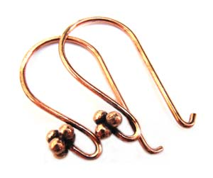 Pure 100% COPPER Antiqued Bali Style Earhooks x1 pr