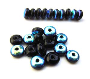 Czech Glass Rondell Disk Spacer Beads 4mm Jet Black AB x100