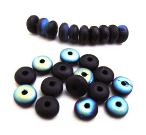 Czech Glass Rondell Disk Spacer Beads 4mm Matte Velvet Jet Black AB x100