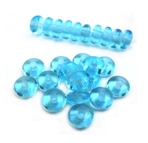Czech Glass Rondell Disk Spacer Beads 4mm Aquamarine x100