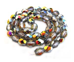 Czech Glass Fire Polished beads - 3mm Crystal Marea x50