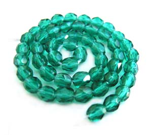 Czech Glass Fire Polished beads - 3mm Emerald x50