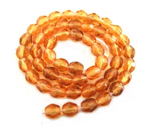 Czech Glass Fire Polished beads - 3mm Topaz x50