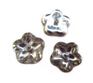 Czech Flat Flower 8x3mm Spacer Beads x10 Silver