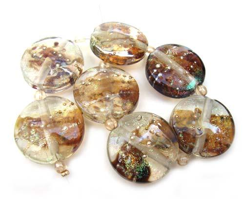 Dichroic and Aurae 22x9.7mm Buttons - Ian Williams Artisan Glass Lampwork Beads
