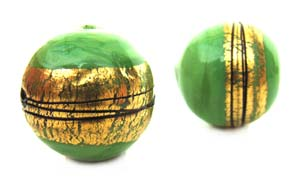 Green with Gold Foil Stripe - Sphere - 14mm Lampwork Bead x1