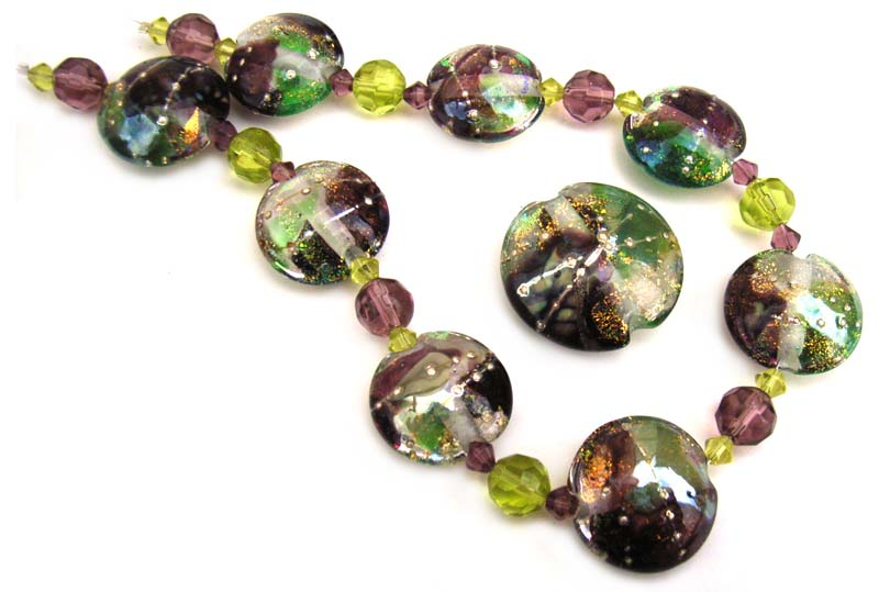 Spring Glitz - Dichroic and Raku Shards Set of 9 Lentils Artisan Glass Lampwork Beads - Ian Williams