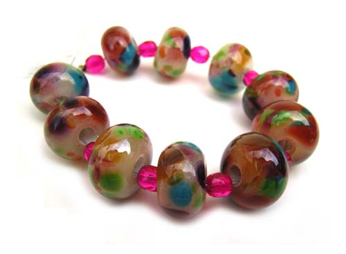 Spring Confetti Set of 10 Roundel Artisan Glass Lampwork Beads - Ian Williams