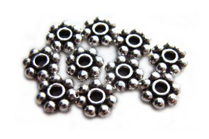 TierraCast Heishi Beads - 6mm Beaded Daisy Spacer Antique Silver Plated x10