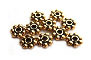 TierraCast Heishi Beads - 6mm Beaded Daisy Spacer Antique Gold Plated x10