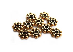 TierraCast Heishi Beads - 3mm Beaded Daisy Spacer Antique Gold Plated x10