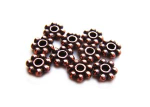 TierraCast Heishi Beads - 3mm Beaded Daisy Spacer Antique Copper Plated x10