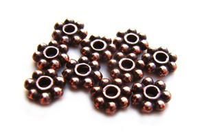 TierraCast Heishi Beads - 6mm Beaded Daisy Spacer Antique Copper Plated x10