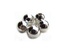 Base Metal Beads - 5mm Round Spacer Silver Plated x72