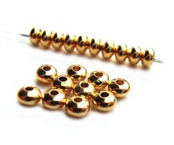 Base Metal Beads - 3x2mm Donut Spacer Gold Plated x144