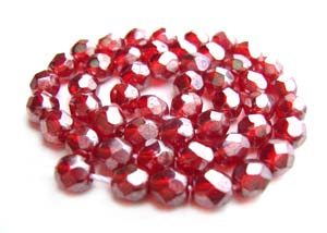 Czech Fire Polished beads 4mm Ruby Lustre x50