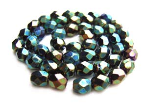 Czech Fire Polished beads 4mm Iris Green x50