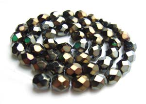 Czech Fire Polished beads 4mm Iris Brown x50