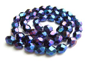 Czech Fire Polished beads 4mm Iris Blue x50