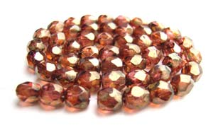 Czech Fire Polished beads 4mm Transparent Luster Rose Gold Topaz x50