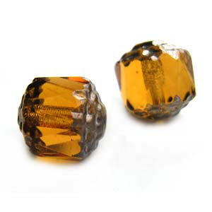 Czech Glass Fire Polished beads - Antique Style Octagonal Cathedral 8mm Silver Medium Topaz x1